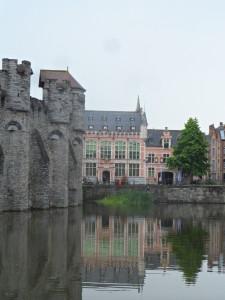 Zicht op Gravensteen Burgstraat - deel Vismijn - Leie - Lieve