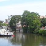 Zicht op Zoutstraat - Leie vanaf Verloren Kost brug