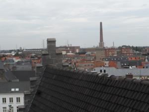 Hoogpoort - zicht op Gent-Noord - midden rechts elektr centrale - links watertoren Bloemekeswijk