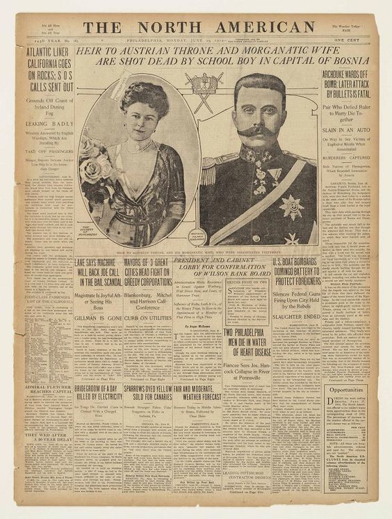 Heir to the Austro-Hungarian Empire and his wife Sophie were assassinated in Sarajevo, sparking a chain of events - pic Pinterest