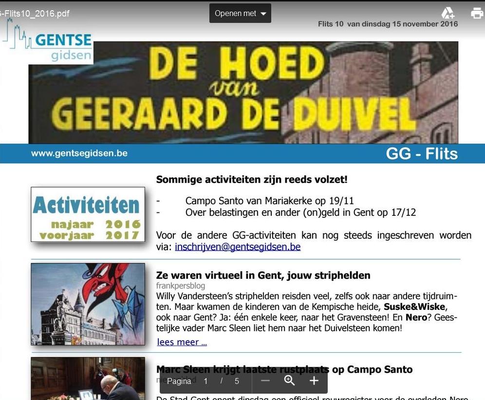 Nieuwsbrief Gentse Gidsen opent met persblog.be