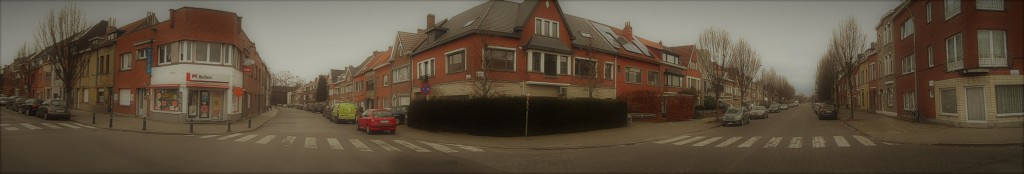 vijfhoek - vlnr Henri Pirennelaan - Schooldreef - Emiel Verhaerenlaan - met achter Schooldreef - Maurice Verdoncklaan - Gentbrugge