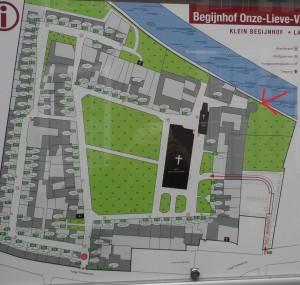 plattegrond Ter Hoye - pijl wijst plek torentje aan