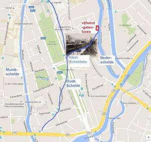 Stadsplan - bijgetekend- Oude Schelde en Klein Scheldeke bij Ter Hoy