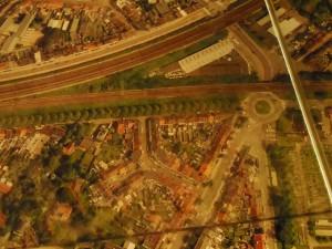 Deel uit luchtfoto van Gent - in STAM - junctie spoorlijnen