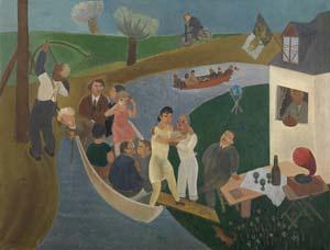 Honorine, Paul-Gustave en anderen - geschilderd door Edgard Tytgat