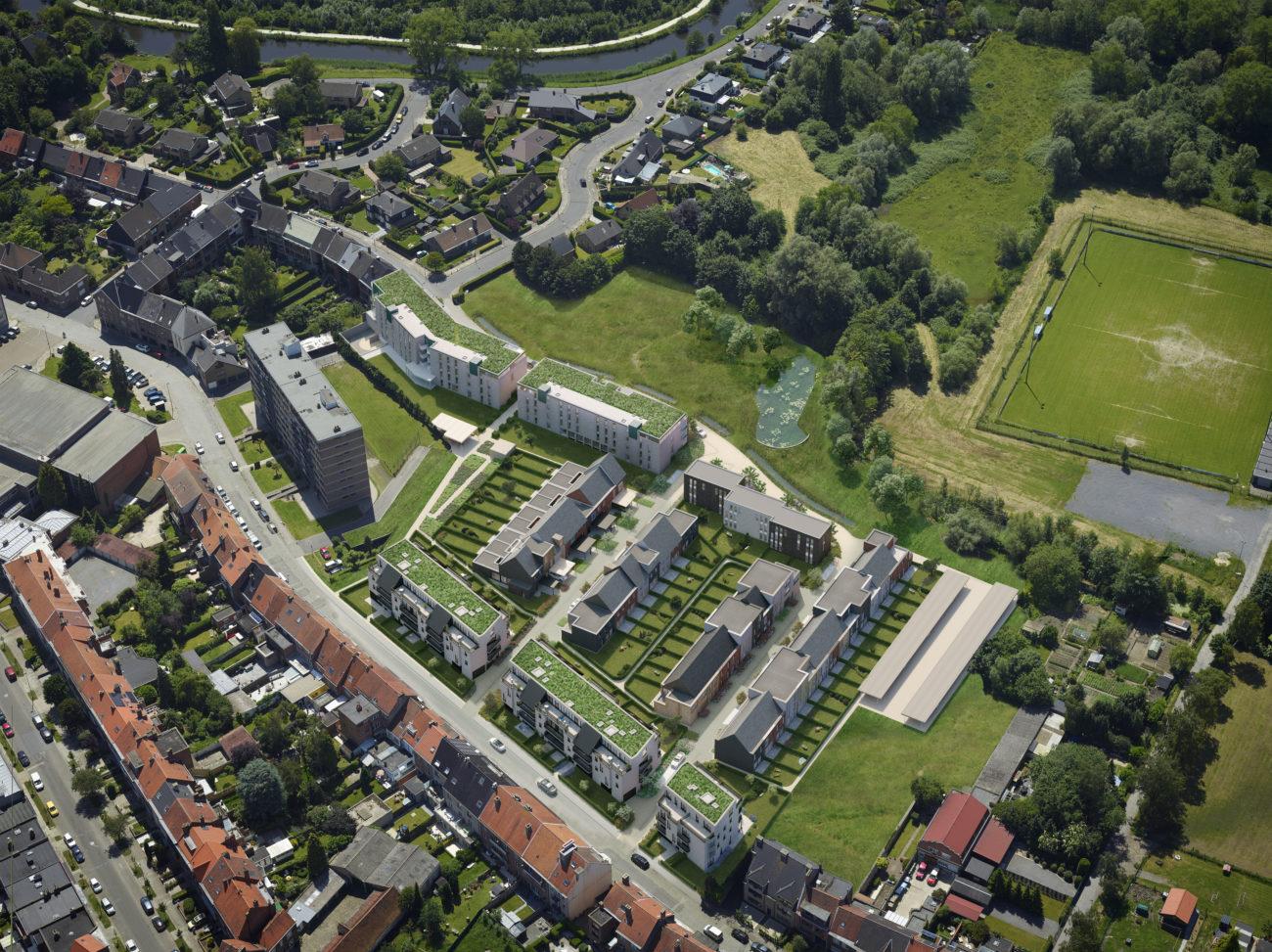 Nieuw te bouwen woonwijk - simulatie