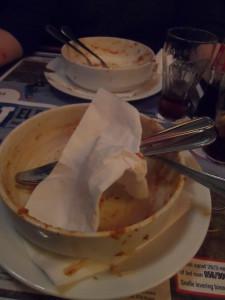 De spaghetti was voortreffelijk