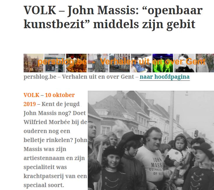 """John Massis: """"openbaar kunstbezit"""" middels zijn gebit"""