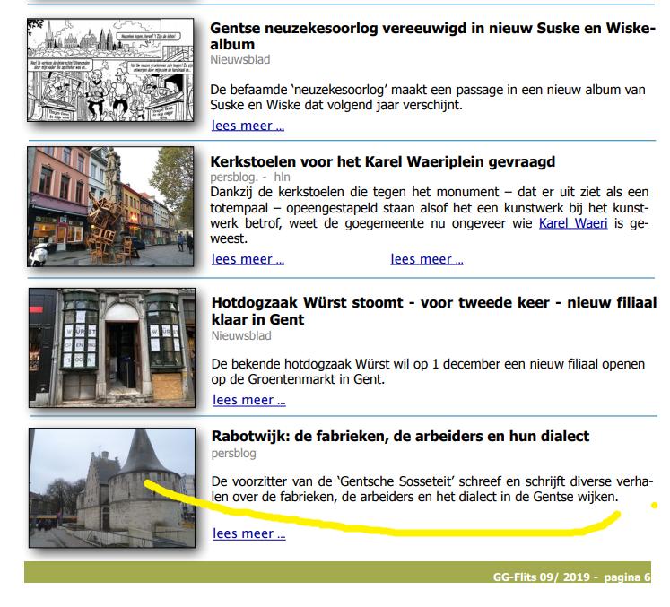 GG-Flits Gentse Gidsen nieuwsbrief 2019.11.14 Rabotwijk dialect fabrieken
