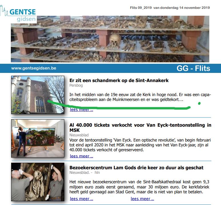GG-Flits Gentse Gidsen nieuwsbrief 2019.11.14 Sint-Anna