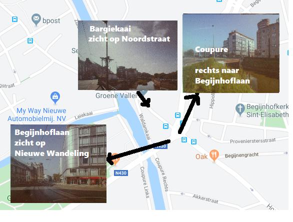 Coupure - Begrijnhoflaan - Nieuwe Wandeling - Bargiekaai - nu