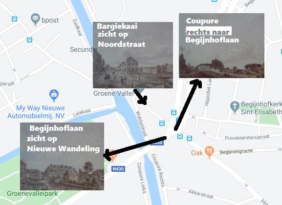 Coupure - Begrijnhoflaan - Nieuwe Wandeling - Bargiekaai-  toen
